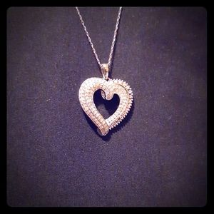 1 ctw Diamond Sterling Silver Heart Necklace
